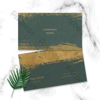 الظلام الأخضر الملمس الرجعية مسحوق الذهب فرشاة معدنية بطاقة الأعمال قالب PSD