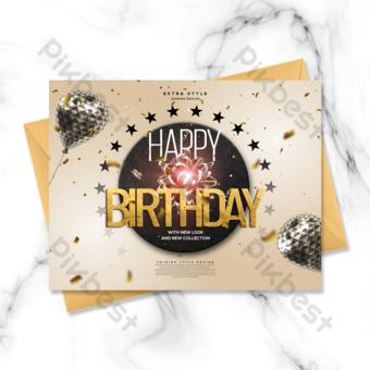 Carte d'anniversaire dorée élégante et moderne Modèle PSD