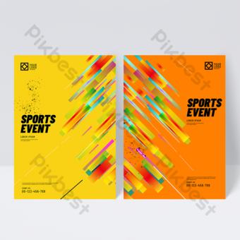 Dépliant de brochure de sport géométrique dégradé jaune Modèle PSD