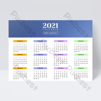 Dépliant de conception de calendrier Business Universal Light Color 2021 Modèle PSD