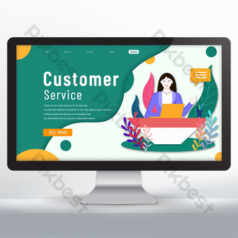 Customer service landing web design Template PSD
