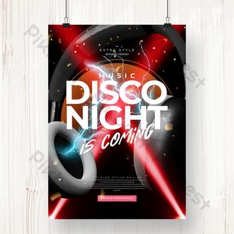 個性化迪斯科舞會之夜音樂晚會海報 模板 PSD