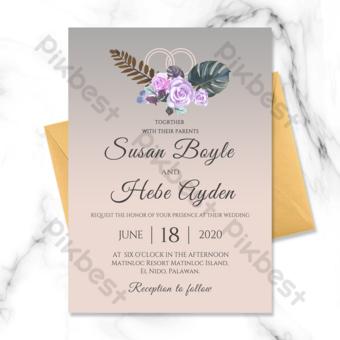 elemento de anillo de bodas de fondo degradado rosa moderno simple invitación de boda Modelo PSD