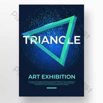 Technology sense triangle frame art poster Template PSD