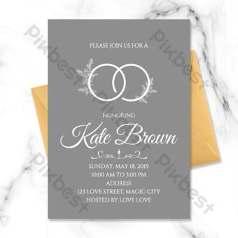 Simple modern senior gray wedding ring element wedding invitation Template PSD