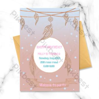 merah muda biru gradien bulu emas penangkap mimpi satu sisi undangan ulang tahun anak-anak Templat PSD