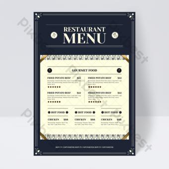 folleto de menú de restaurante de tenedor de cuchillo azul retro europeo Modelo PSD