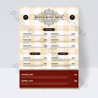 Fondo de tela escocesa amarilla retro europea cuchillo y tenedor restaurante menú de comida folleto Modelo PSD