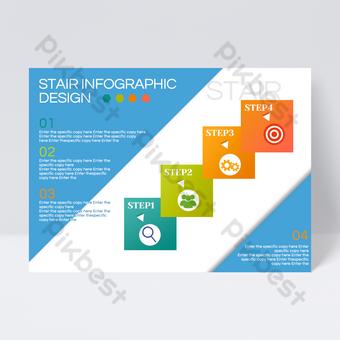 Conception de flyer d'information en bloc commercial bleu Modèle PSD