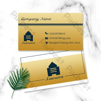 logo inmobiliario fondo dorado diseño de tarjeta de visita Modelo PSD