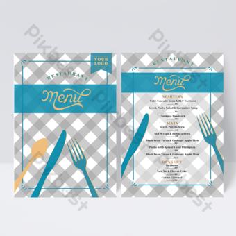 تصميم قائمة الطعام الغربي بسكين منقوش وعناصر شوكة قالب PSD