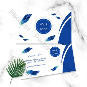Carte de visite carte dessiné à la main plume bleu blanc Modèle EPS