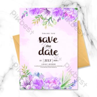frontera de flor morada pintada a mano invitación de boda Modelo PSD