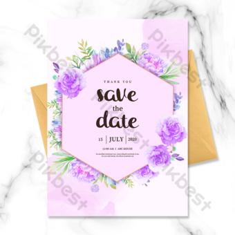 invitación de boda de borde de flor hexagonal púrpura Modelo PSD