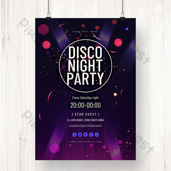紫色閃光午夜迪斯科舞會海報 模板 PSD