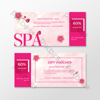Bon cadeau coupon fleur rose Modèle EPS