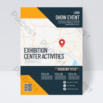 Dépliant d'événement de convention et de centre d'exposition couleur simple Modèle PSD