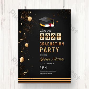 الذهب الأسود الفاخرة 2021 خطاب دعوة حفل التخرج قالب PSD