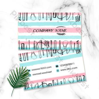 Conception de carte de visite de maquilleur de mode aquarelle Modèle PSD