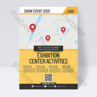 Dépliant d'affaires de centre de convention et d'exposition de style simple Modèle PSD