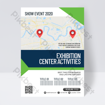 Dépliant de style simple du centre des congrès et des expositions Modèle PSD