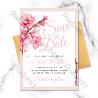 invitación de boda del elemento de la flor de cerezo del marco rectangular elegante moderno Modelo PSD