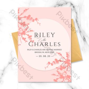 moda simple hermosa flor de cerezo silueta elemento invitación de boda Modelo PSD