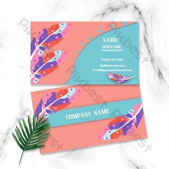 Carte de visite double face avec coutures contrastées bleu orange plume colorée Modèle PSD