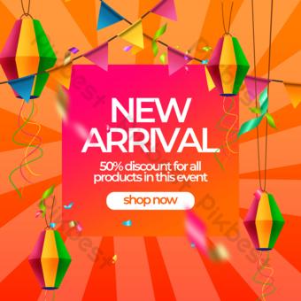 spanduk promosi diskon promosi peluncuran produk baru Templat PSD