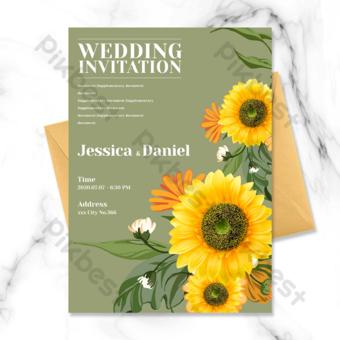 moda romantico fondo verde flor de sol flor de girasol invitación de boda Modelo PSD