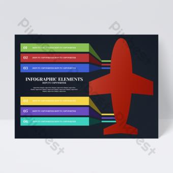 Flyer d'icône d'informations commerciales modèle avion couleur créative Modèle PSD