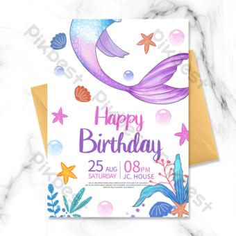 Invitation simple de fête d'anniversaire de sirène Modèle PSD