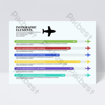 Flyer infographie entreprise idée créative modèle avion minimaliste coloré Modèle PSD