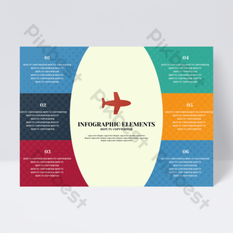 Flyer de conception infographique de modèle d'avion coloré de mode simple idée créative Modèle PSD