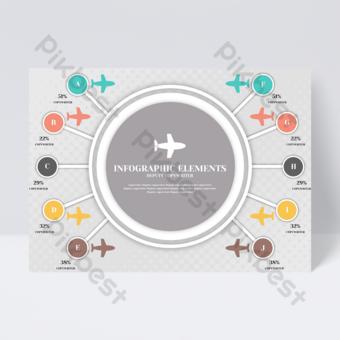 Business couleur plaid fond idée créative modèle avion flyer conception infographique Modèle PSD