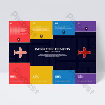 Modèle d'avion de couleur simple couleur bloc d'affaires modèle idée créative flyer de conception infographique Modèle PSD