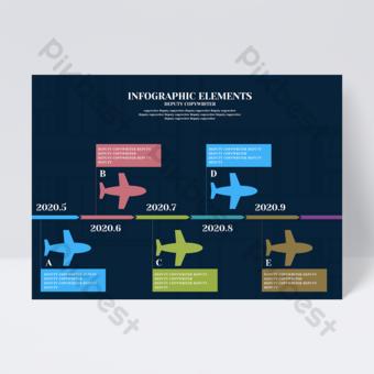 Flyer de conception infographique modèle avion idées créatives minimalistes bleu foncé Modèle PSD