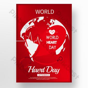 poster hari jantung dunia tekstur merah Templat PSD