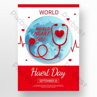 poster hari jantung dunia vektor merah Templat PSD