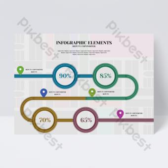 Dépliant infographique de rapport annuel de données de cible de route de couleur de mode d'affaires simple Modèle PSD