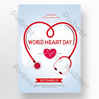 cartel simple del día mundial del corazón Modelo PSD