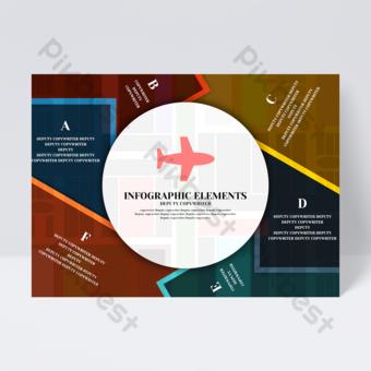 Flyer infographique idée créative modèle avion table couleur affaires minimaliste Modèle PSD