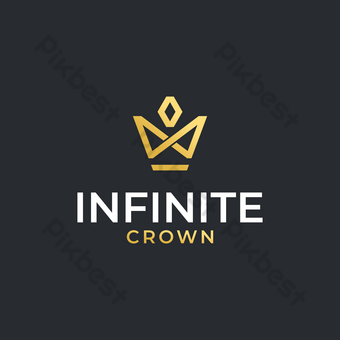 Corona logo vector diseño moderno simple con símbolo ilimitado fondo dorado y oscuro Elementos graficos Modelo EPS
