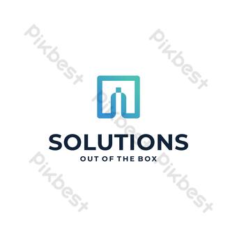 solución caja logo vector moderno diseño minimalista con fondo blanco Elementos graficos Modelo EPS