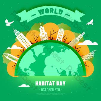 الأرض الخضراء يوم الموائل العالمي عطلة وسائل الإعلام الاجتماعية قالب PSD