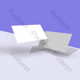 Carte de visite vierge tombant carte de marque réaliste présentation publicitaire papier rectangle vide modèle de document de vecteur de marketing Modèle PSD
