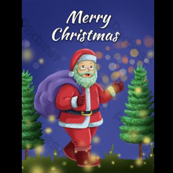 Carte de voeux joyeux Noël Santa Claus personnage de dessin animé Modèle PSD