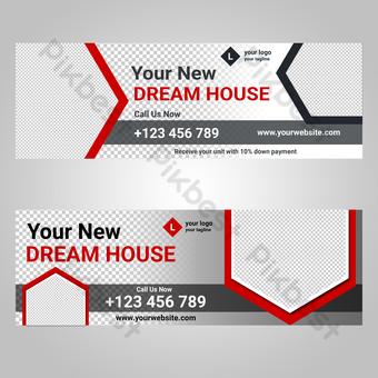 diseño de banner de bienes raíces retro rojo Fondos Modelo PSD