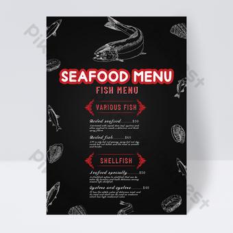 menú del restaurante del mundo submarino retro gris Modelo PSD