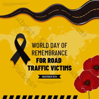 Journée mondiale du souvenir de la route jaune pour les victimes de la circulation routière Modèle PSD